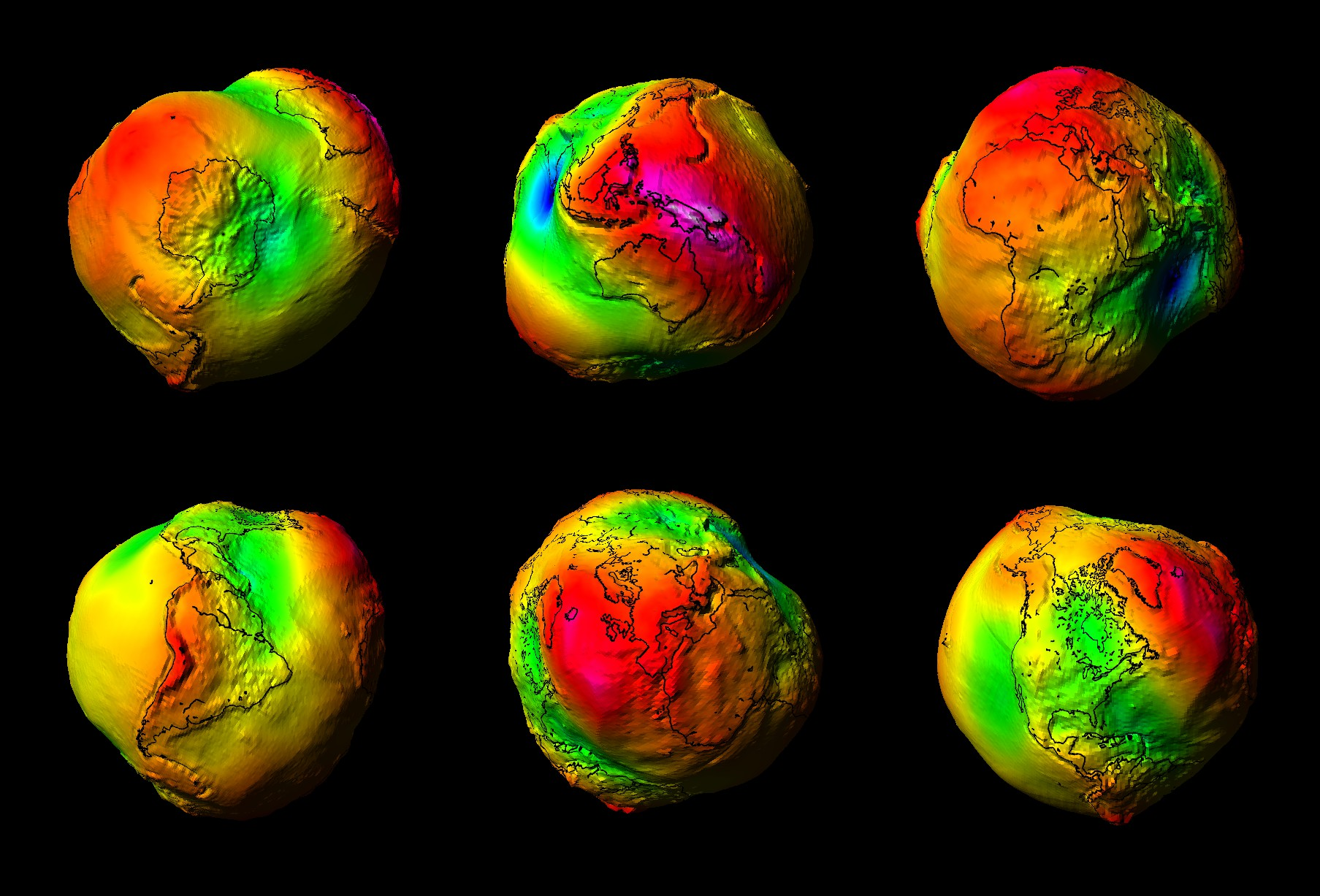 Lumpy Earth from GRACE gravity data