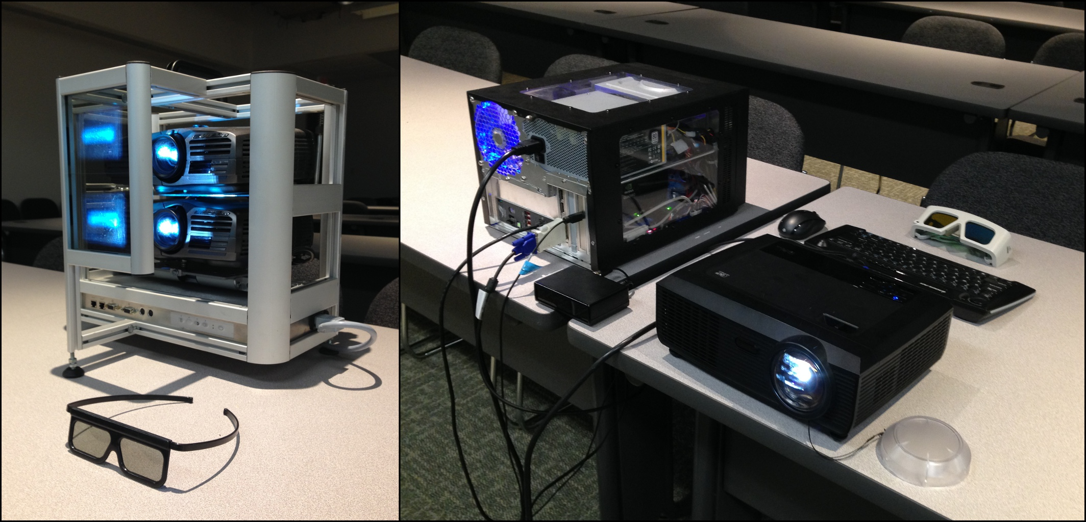 Portable visualization with two passive projectors and one active projector supported by one custom built computer system.